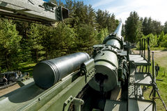 Views of cannon and the rail Transporter at Fort Krasnaya Gorka Royalty Free Stock Photos