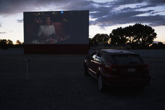 Views in car watch movie Star Drive In Movie Theater, Montrose, Colorado, USA Royalty Free Stock Photography