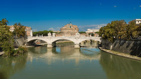 Views of the Castel Sant'Angelo. Rome Tiber River waterfront, views of the Castel Sant'Angelo Stock Images