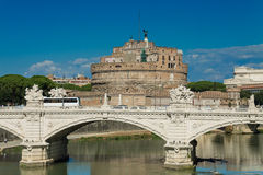 Views of the Castel Sant'Angelo. Rome Tiber River waterfront, views of the Castel Sant'Angelo Royalty Free Stock Photos