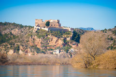 Views of the castle of Miravet, Tarragona, Catalunya, Spain. Copy space for text. stock photography