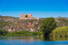 Views of the castle of Miravet, Tarragona, Catalunya, Spain. Copy space for text. royalty free stock photography