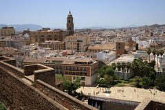 Views of the cathedral and city Malaga from the Alcazaba. Views of the cathedral and city of Malaga from the Alcazaba of Malaga located at the top of Mount Stock Photo