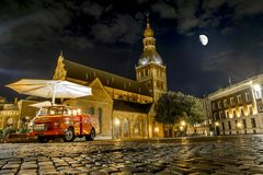 The views of the Cathedral and the old town in Riga at the moon. Royalty Free Stock Image