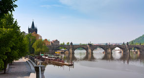 Views of the Charles Bridge and riversides Royalty Free Stock Photography