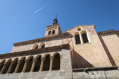 Views of the Church of San Martin. Segovia, Spain. It was built in the 12th century, Mozarab in origin and Romanesque style Stock Photos