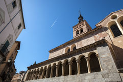 Views of the Church of San Martin, Segovia. Spain. It was built in the 12th century, Mozarab in origin and Romanesque style Stock Images