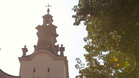 Views of the church on a sunny day, Lviv, cathedral church. Beautiful architecture stock video
