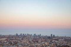 Views of the city of Barcelona and the Mediterranean sea. With copy space stock photo