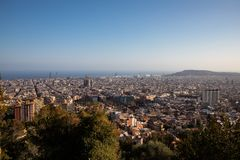 Views of the city of Barcelona and the Mediterranean sea. With copy space stock images