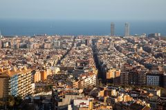 Views of the city of Barcelona and the Mediterranean sea. With copy space royalty free stock photos