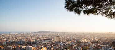 Views of the city of Barcelona and the Mediterranean sea during sunset. With copy space royalty free stock images
