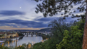 Views of the city and the bridge over the Vltava Stock Images