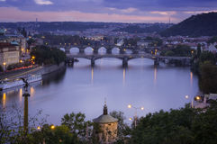 Views of the city and the bridge over the Vltava Royalty Free Stock Photo