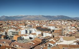 Views of the city of Colmenar Viejo. Madrid, Spain, from the belltower of the Basilica of La Asuncion de Nuestra Señora. In the background, it can be seen stock image