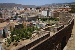 Views of the city of Malaga and walls of the Alcazaba. Of Malaga located at the top of Mount Gibralfaro Stock Photography