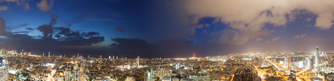 Views of the city night lights stock photography