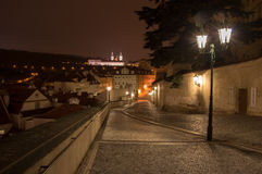 Views of the City of Prague. At night stock images
