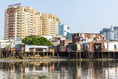 Views of the city's Slums from the river. Royalty Free Stock Image