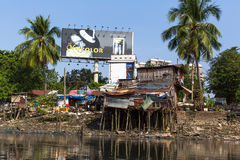 Views of the city's Slums from the river. Stock Photo