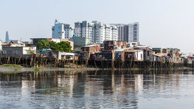 Views of the city's Slums from the river. Royalty Free Stock Photography