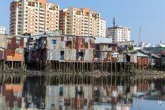 Views of the city's Slums from the Saigon river. Royalty Free Stock Photos
