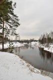 Views of the coast, the river Oredezh and railway bridge Royalty Free Stock Photos