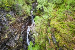 Views of Corrieshalloch Gorge. Views of Falls of Measach inside the Corrieshalloch Gorge close to Ullapool stock image