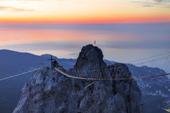 Views of the Crimea with the top of the mountain early in the morning Stock Image