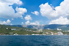 Views of the Crimean coastline with hotels and beaches with moun Stock Photography