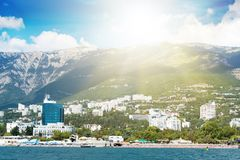 Views of the Crimean coastline with hotels and beaches with moun Stock Photo
