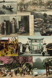 Vintage postcards. Japan. Views and customs of Japan in 100 years old postcards Stock Photography