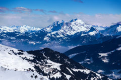 Views of the Diablerets. Views of the resort Diablerets from Portes du Soleil, Switzerland Stock Photos