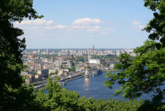 Views of the Dnieper River and District Podil in Kiev, Ukraine Stock Photos
