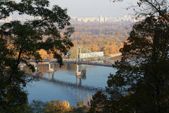 Views of the Dnieper River and the Pedestrian Bridge in Kiev, Uk Royalty Free Stock Photo
