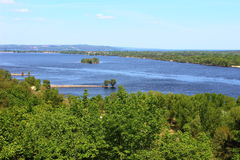 Views of the Dnipro. Beautiful top view of the Dnieper River Royalty Free Stock Image