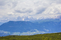 Views of the Dolomites from the top of a mountain plateau Stock Photos