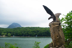 Views on eagle, of mount Iron and ornamental lake, Caucasus, Russia Stock Images