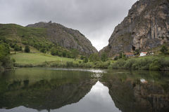 Views of El Valle Reservoir. In Valle del Lago, Somiedo Nature Reserve. It is located in the central area of the Cantabrian Mountains in the Principality of Stock Image