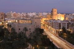 Views of Elche city at sunset in front of the palm grove. Royalty Free Stock Images