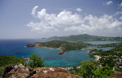 Views of English Harbor and Freemans Bay from an elevation point. Antigua and Barbuda Royalty Free Stock Images