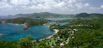 Views of English Harbor and Freemans Bay from an elevation point. Antigua and Barbuda Stock Image