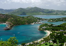 Views of English Harbor and Freemans Bay from an elevation point. Antigua and Barbuda Stock Photography