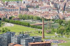 Views of Etxebarri park with old Chimney in Bilbao, Spain. Royalty Free Stock Photo