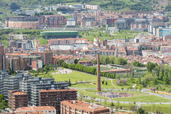 Views of Etxebarri park with old Chimney in Bilbao, Spain. Royalty Free Stock Photos