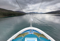 Cruise ship enters to fjord, Akureyri - Iceland Stock Photos