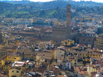 The views of florence. A  view of  the historic and beautiful city of florence. featuring the red top roofs the tuscany hills are in the distance Stock Images