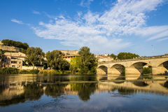 Beziers, France. Views of the French town of Beziers with one of the bridges that cross the river Orb Royalty Free Stock Photo