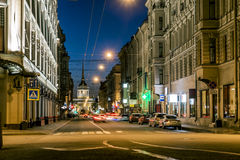 Views from Gorohovaya Street to the Admiralty for night illumin Royalty Free Stock Images