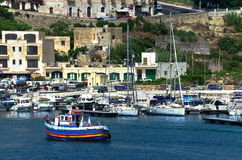 Malta - Gozo, Mgarr. A view of the port of Mgarr on the island of Gozo, the main harbour and the point of arrival for ferries from mainland of Malta Stock Photo